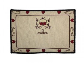 Pet Place Mat Animated Cat with Fish Border